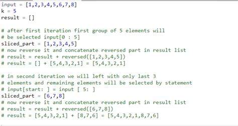 Python Slicing | Reverse an array in groups of given size