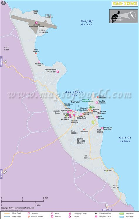 Sao Tome City Map | Map of Sao Tome City, Sao Tome and