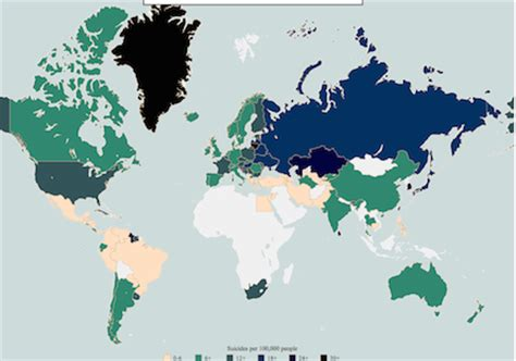 Countries (by sex!) with highest suicide rates