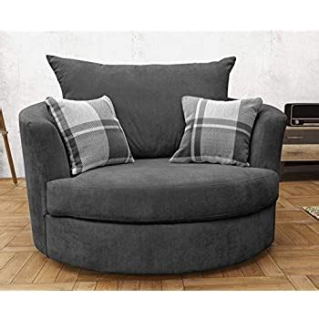 Sofas and More Large Swivel Round Cuddle Chair Fabric