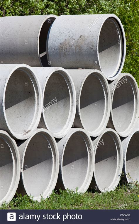 Concrete well rings / drainage pipes Stock Photo - Alamy
