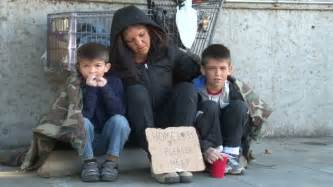 Homeless Family in Need Begs Stock Footage Video (100%