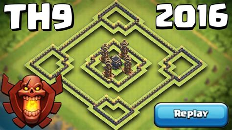 Clash of Clans TH9 Trophy Base 2016 + REPLAYS - YouTube