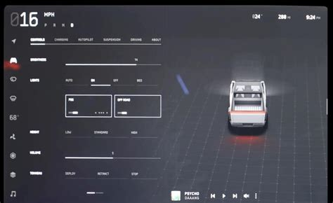Clear look at Cybertruck touchscreen display UI showing