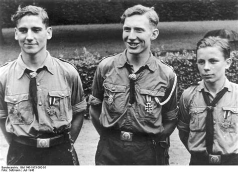[Photo] Hitler Youth members being decorated for bravery