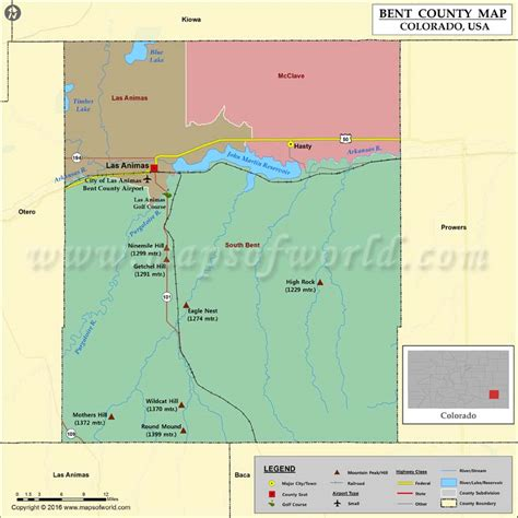 Bent County Map, Colorado | Map of Bent County, CO