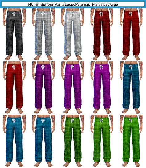 Basegame T-E Male PJ Pants in Solids, Plaids, and Stripes