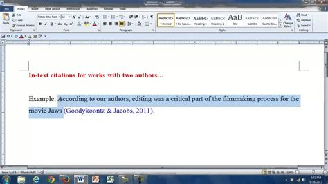 In-text Citations for Works with Two Authors - YouTube