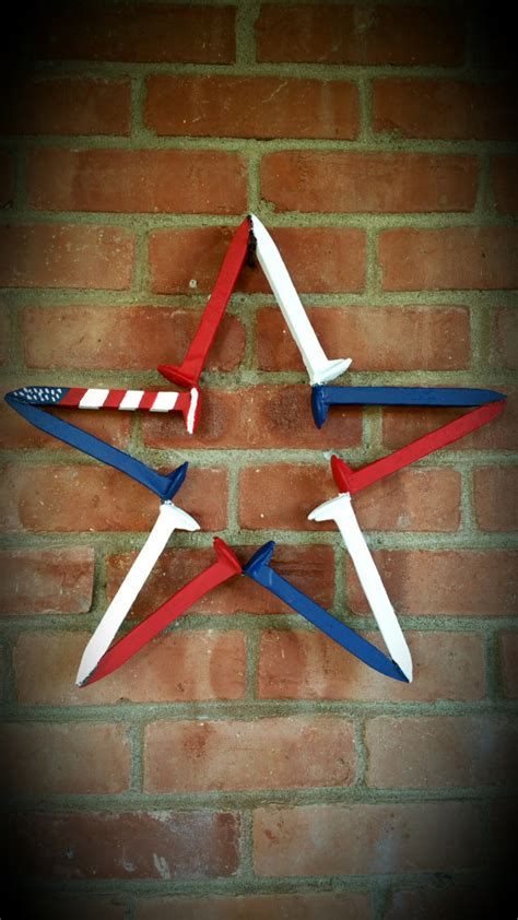 Railroad Spike Star Red White and Blue