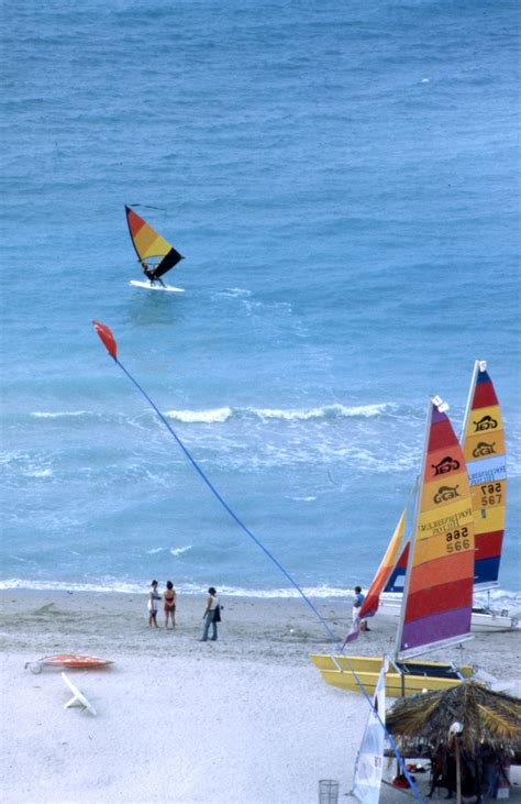 Florida Memory - People at the beach windsurfing - Miami
